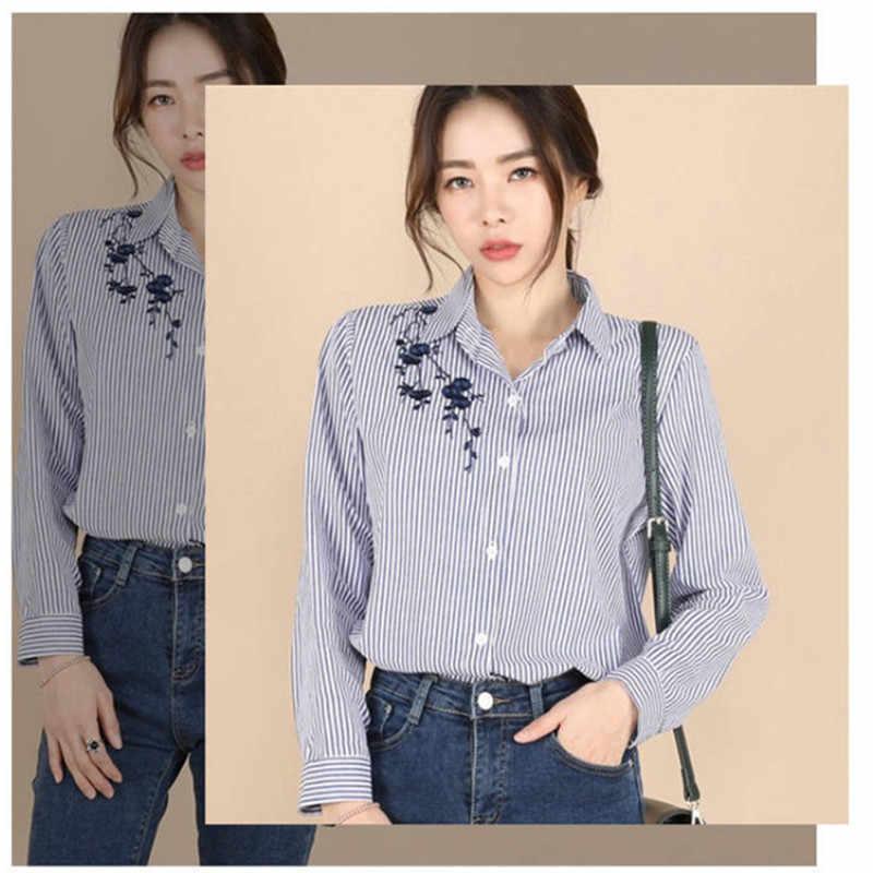 Ih с цветочной вышивкой, полосатый блузка женская рубашка с длинными рукавами и топы Повседневная хлопковая блуза большого размера 3XL Топы офисные женские блузы