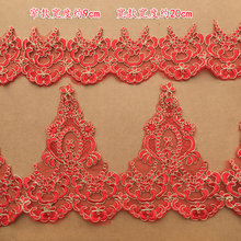 Smalll size 9CM Big size 20CM width Red with gold cording embroidered saree dres