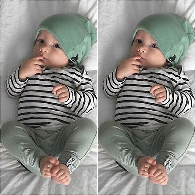 Newborn Baby Boy Girl Long Sleeve T-shirt Striped Tops Long Pants Hat 3PCS Outfits Set Cute Baby Cotton Clothes XMAS GIFT organic airplane newborn baby boy girl clothes set tops t shirt pants long sleeve cotton blue 2pcs outfits baby boys set