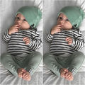 Newborn Baby Boy Girl Long Sleeve T-shirt Striped Tops Long Pants Hat 3PCS Outfits Set Cute Baby Cotton Clothes XMAS GIFT