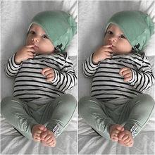 Newborn Baby Boy Girl Long Sleeve T-shirt Striped Tops Long Pants Hat 3PCS Outfits Set Cute Baby Cotton Clothes XMAS GIFT