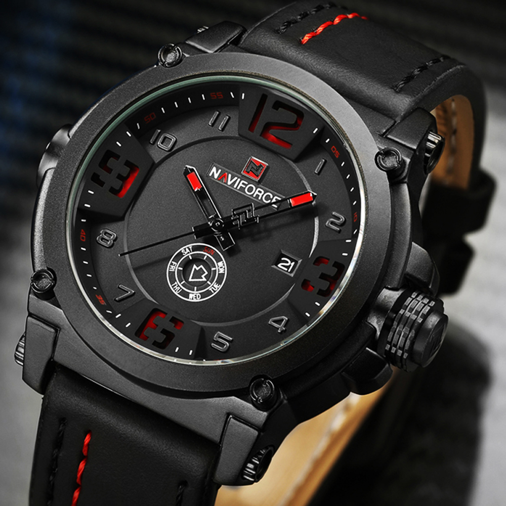 NAVIFORCE Top Luxury Brand Men Quartz Watch Sport Fashion Casual Men Watches Date Week Waterproof Male Clock Relogio Masculino 2018 men watch brand guanqin quartz watches week date waterproof sport casual clock leather strap wristwatches relogio masculino