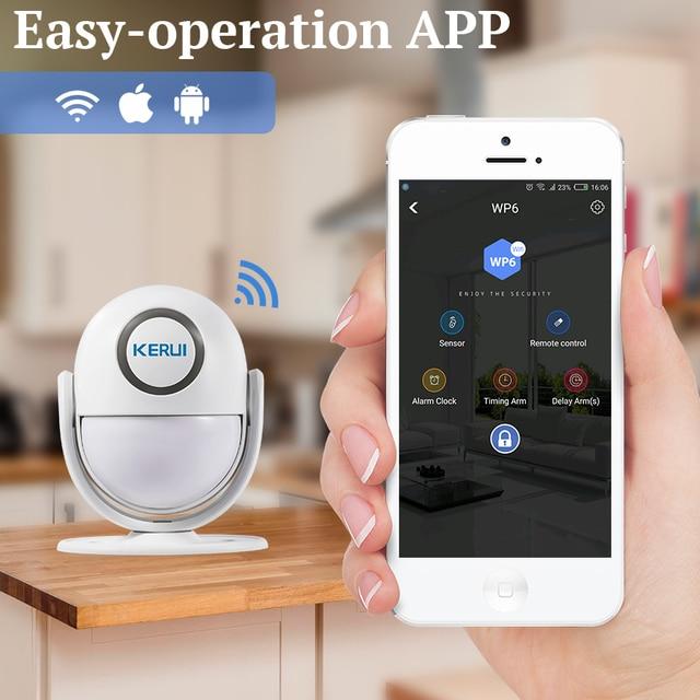 KERUI WIFI Home Security Alarm System Works with Alexa Smart App 120dB PIR Main Panel Door/window Sensor Wireless Burglar Alarm 2