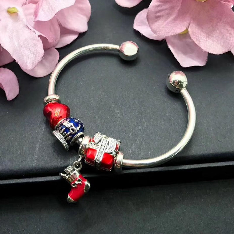 Top Quality Merry Christmas Festival Gift Handmade Open Style Red Color 925 Sterling Silver 925 Sterling Silver Bangle цены онлайн