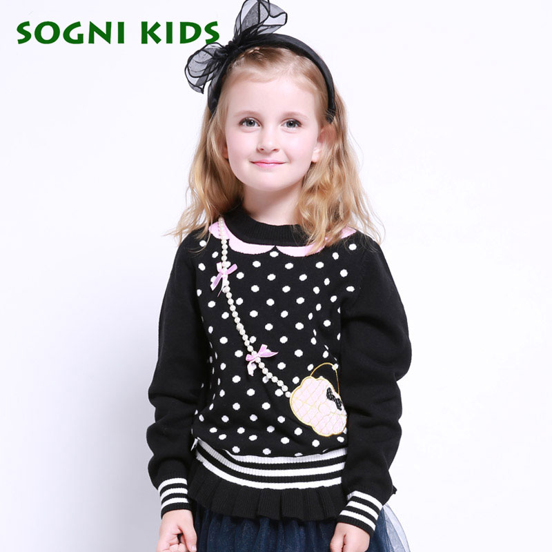 SOGNI KIDS New Winter Children Sweaters For Girls Bowknot Pearl Decoration O Neck Girls Sweater 100