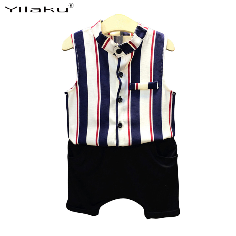 2017 Summer Boy Clothing Set Child Boys Summer Clothes Set Striped Sleeveless Shirt +Shorts Suit Children Suit