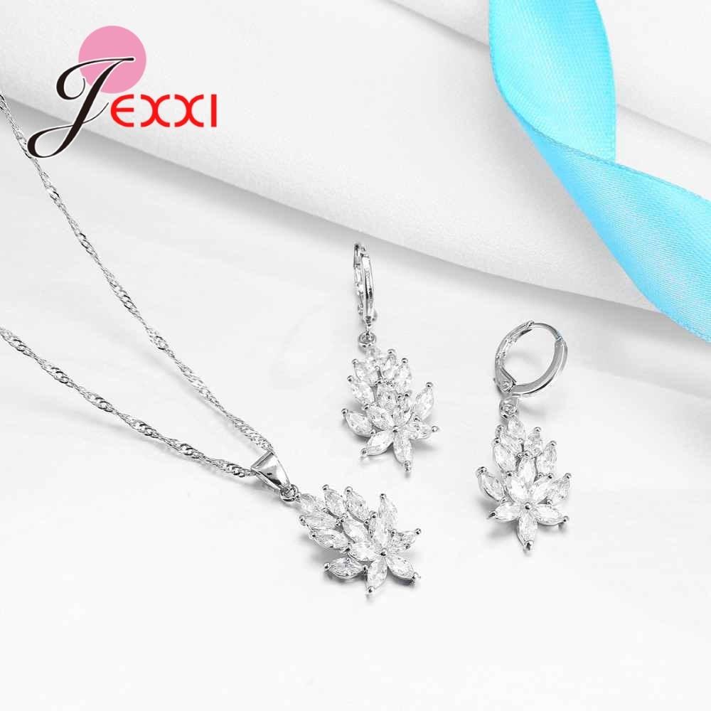JEXXI Jewelry Sets Gift Trendy Pendant Necklace Drop Earrings Austrian Crystal Fashion Weeding Jewelry Set For bijoux Women