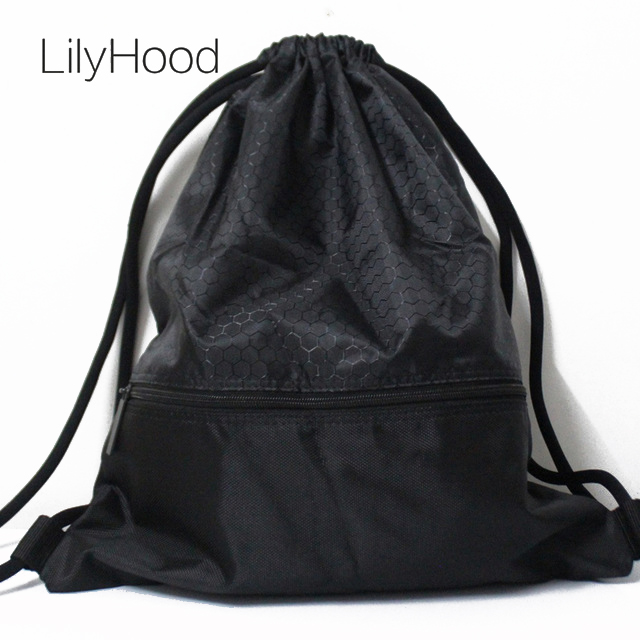 цена LilyHood 2018 Women Men Nylon Plain Black Shoes Waterproof String Bag Female Daily Everyday Drawstring Backpack Storage Bags