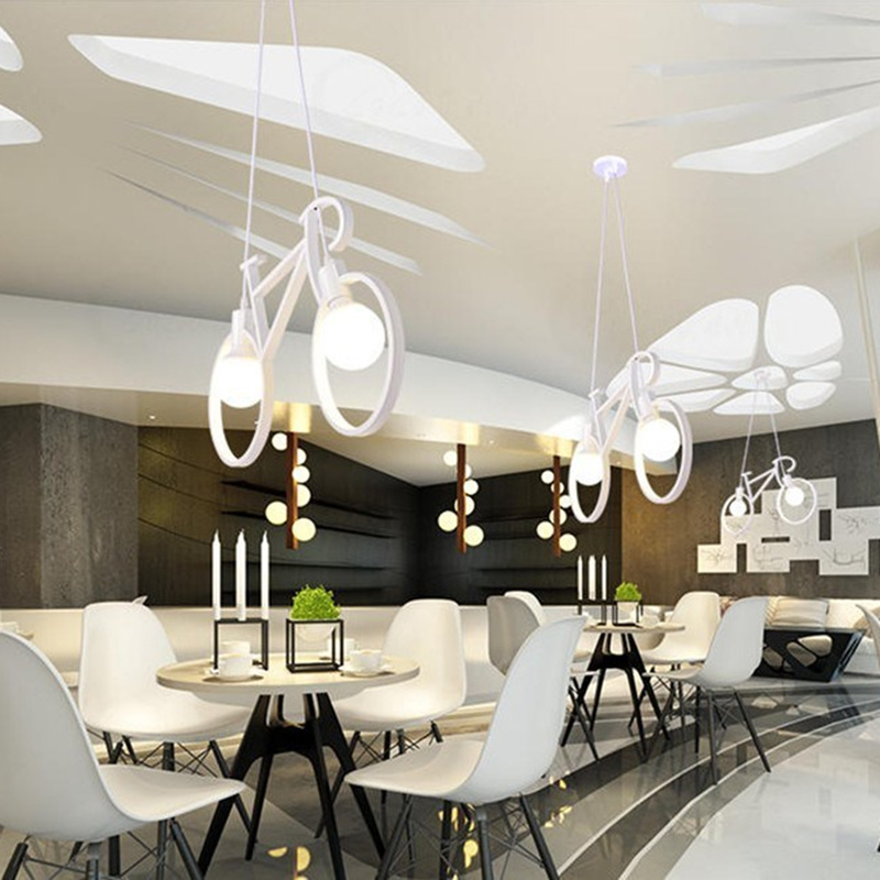 Vintage Iron Bicycle Shape Chandeliers LOFT White Black Chandelier Bedroom  Living Room Lamps