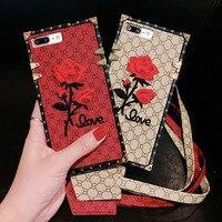 Tpu Cas pour Iphone X 6 6 s 7 8 Plus Dame Cas En Cuir de luxe Grande Marque Broderie Fleur Téléphone Housse Protecteur Lanière