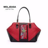 National Wind Leather Leisure Travel Horse Tail Embroidered Shoulder Diagonal Large Bag Handbags Large Capacity Handbag