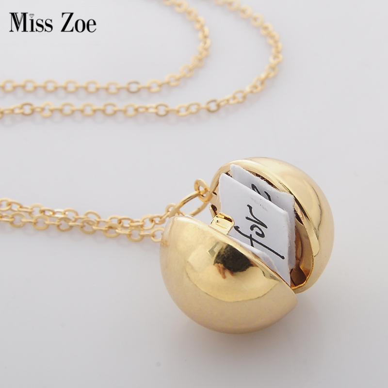 Miss Zoe Secret Message Ball Locket Necklace Love Letter Gift For Lover BFF Lock Personalized Custom-made Message Note Jewelry