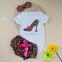 Wholesale 2016 NEW EMS DHL Free Shipping Baby Girls 3PC Set Romper Bloomers Headbands Baby Clothing