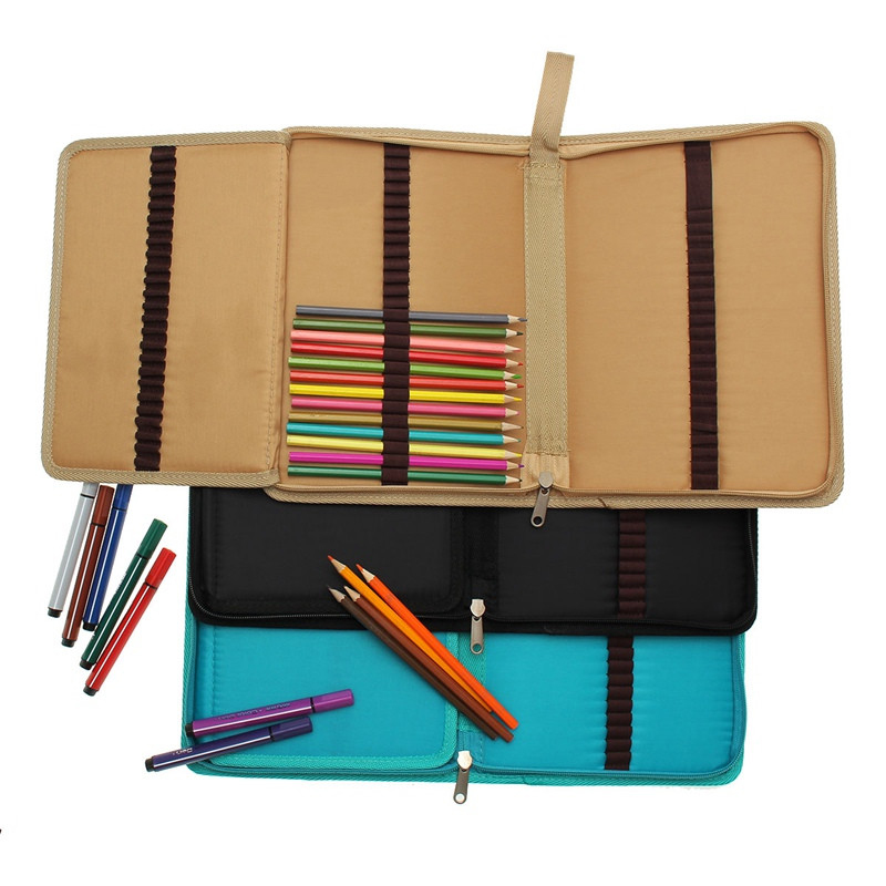 36/48/72 Holes Canvas Pencil Case Folded Brush Holder Pouch Case With Zipper Storage Pockets Bag School Stationery Art Supplies 1piece high quality canvas brush pouch bags insert pen tool folded bag with zipper pencil case pencil bag art school supplies
