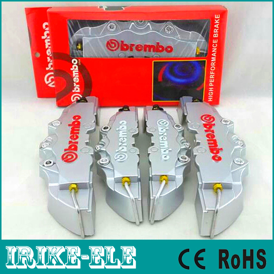 Retail Package Universal Car Auto Brembo Style Disc Brake Caliper Covers Kit Front Rear Silver color - ShenZhen Irike Electronic Int'l Ltd store