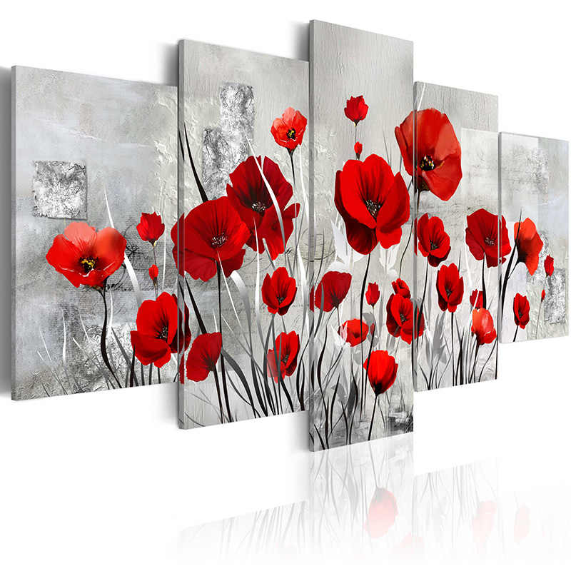 5 pieces/set Classic Flower  Series Picture Print Painting On Canvas Wall Art Home Decor Living Room Canvas Art PJMT-B (227)