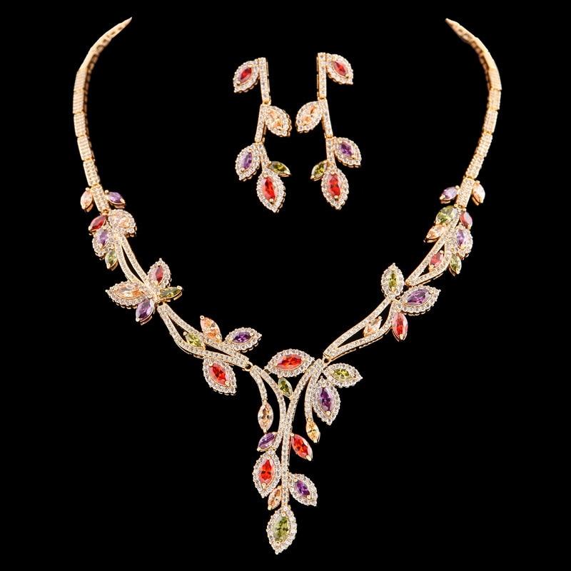 Meng Jie new Korean Jeweled pendant jewelry spot Necklace Earrings two piece set zircon jewelry set цена 2017