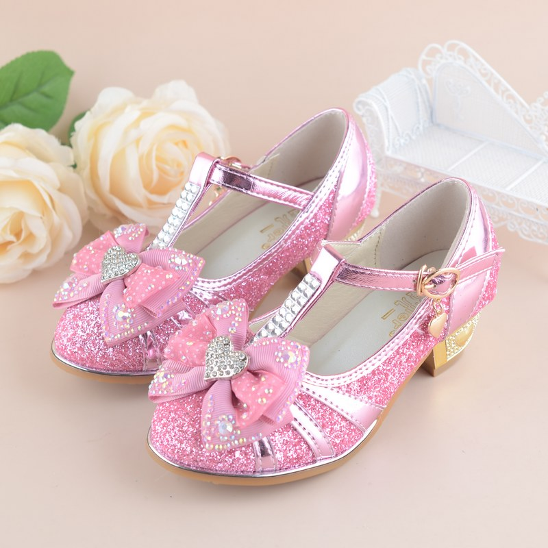 Girls Princess Shoes 2017 New Spring Summer Bowknot Kids Wedding Sandals  for Children Party Shoe High heeled size 27~37-in Leather Shoes from Mother    Kids ... 803edfb81c59