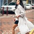 Mulher Trench Coat Outono 2016 Novas Mulheres de Longo Casaco de Trincheira Estilo europeu Ocasional Primavera Trincheira Magro Outwear Com Cinto de Femme Z335