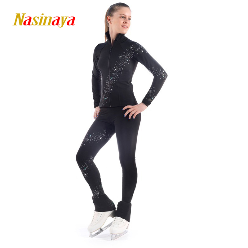 Customized Figure Skating Suits Jacket and Pants Long Trousers for Girl Women Training Patinaje Ice Skating Warm Gymnastics 5