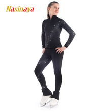 Costume Personnalisé de Patinage sur Glace Patinage Artistique Costume Veste et Pantalon Spirale Large Strass Warm Fleece Adulte Enfant Fille Noir