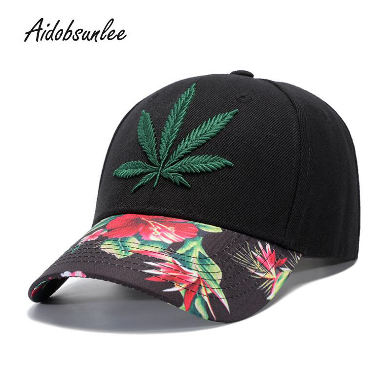 2018 New Arrival MEN'S HATS Caps Hot Hemp Leaf Embroidery Snapback Hat Cap Baseball Cap Hip Hop Outdoor Adjustable Unisex