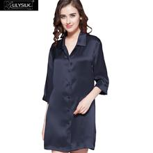 Lilysilk Sleepwear Silk Night Shirt Dress for Women Home 22 Momme 3/4 Sleeve Button Mini Nightshirt Female Sexy Luxury Skin Care