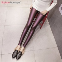 Women Plus Size Leggings Winter Warm Pu Padded Pants Faux Leather Slim Trousers Fitness Soft Gothic