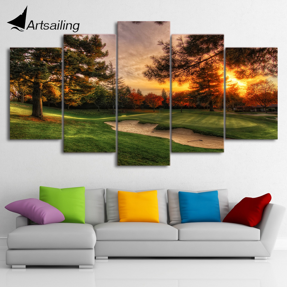 HD printed 5 piece canvas art golf crouse trees painting sunset wall pictures for living room modern free shipping/ CU-1642A no frame canvas