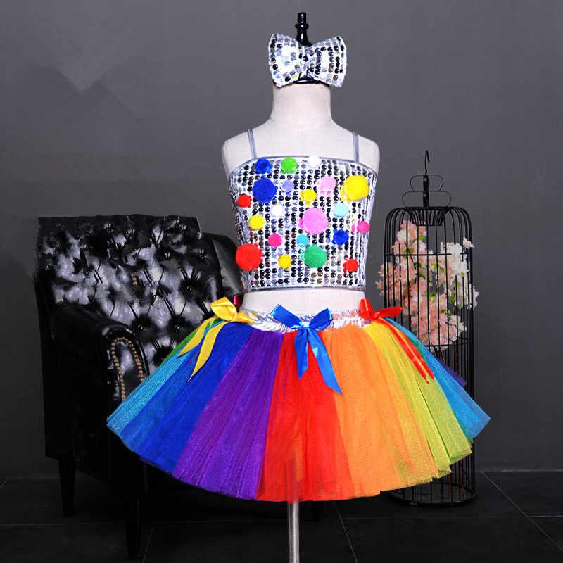 f078208416d8b Sequin Top + falda roja vestido de danza para niñas disfraces de danza de  jazz para