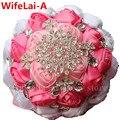 Pink Silk Bow Wedding Bouquet Stunning Crystal Bridal Brooch Bridesmaid Bouquet Artificial Flower Stitch Bride Bouquets W236