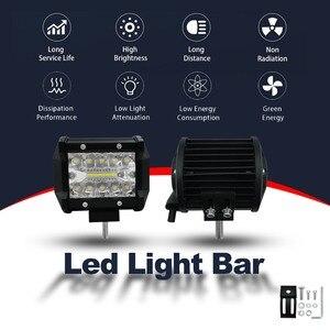 Image 2 - 4 אינץ 60 W שתי שורות Led אור בר רכב סטיילינג מול אור בשעתי יום עבודה אור אורות מבול קרן טרקטור משאית Offroad