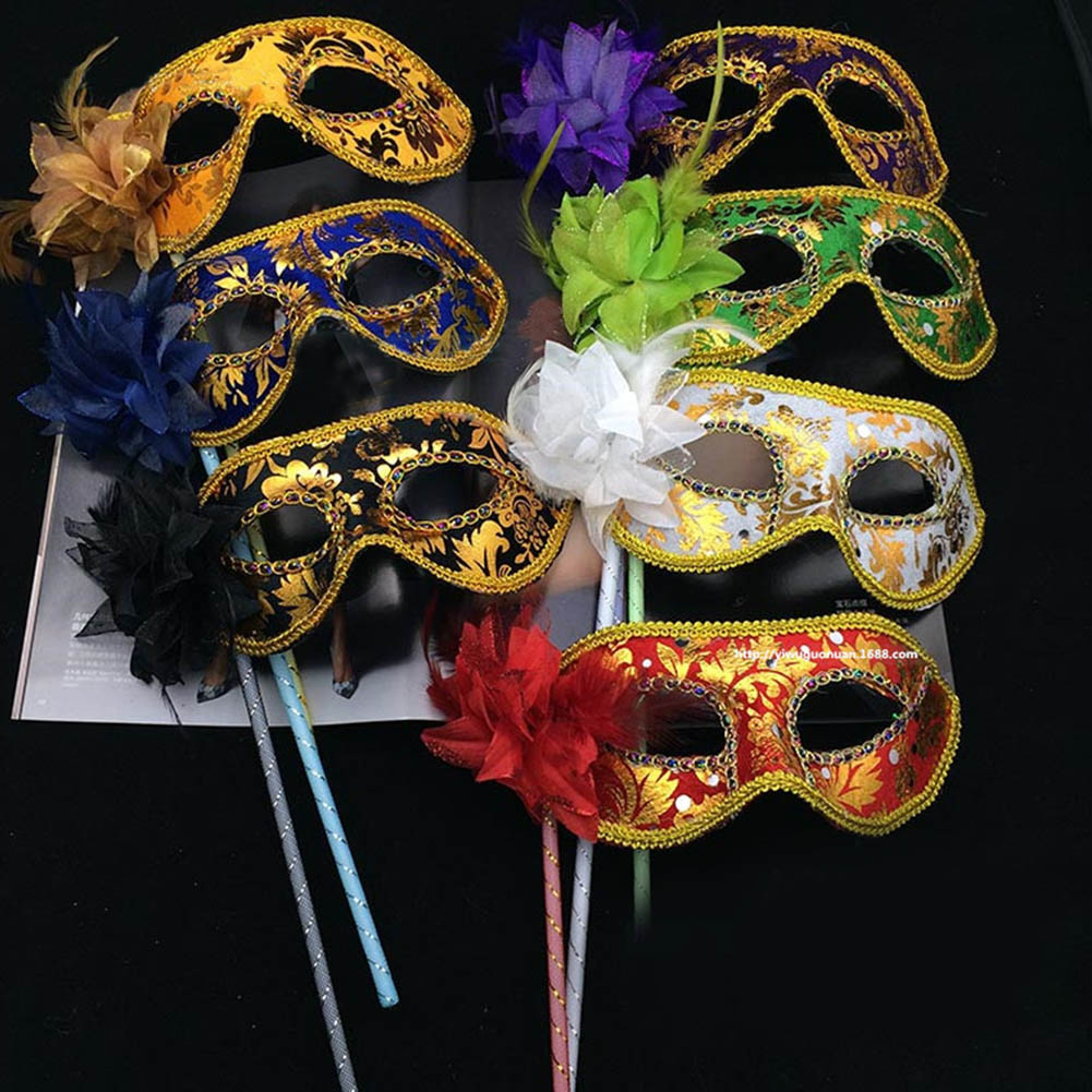 1 шт. венецианские маски, Маскарадная маска для глаз на палочке, Марди, Хэллоуин, для вечеринки, выпускного бала, фиолетовая фантазия, новинка...