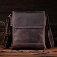 Neweekend Genuine Leather Messenger Bag for Men Crazy Horse Men's Shoulder Cross Body Handbag Bag Casual Small Flap Male Totes
