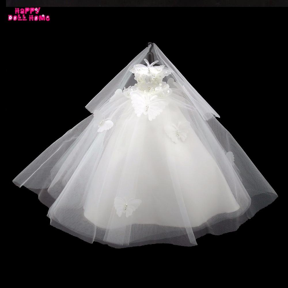 Ручной работы одежда чистый белый свадебное платье с бабочкой Фата ужин Детский костюм для вечеринок платье принцессы для куклы Барби FR Кук...