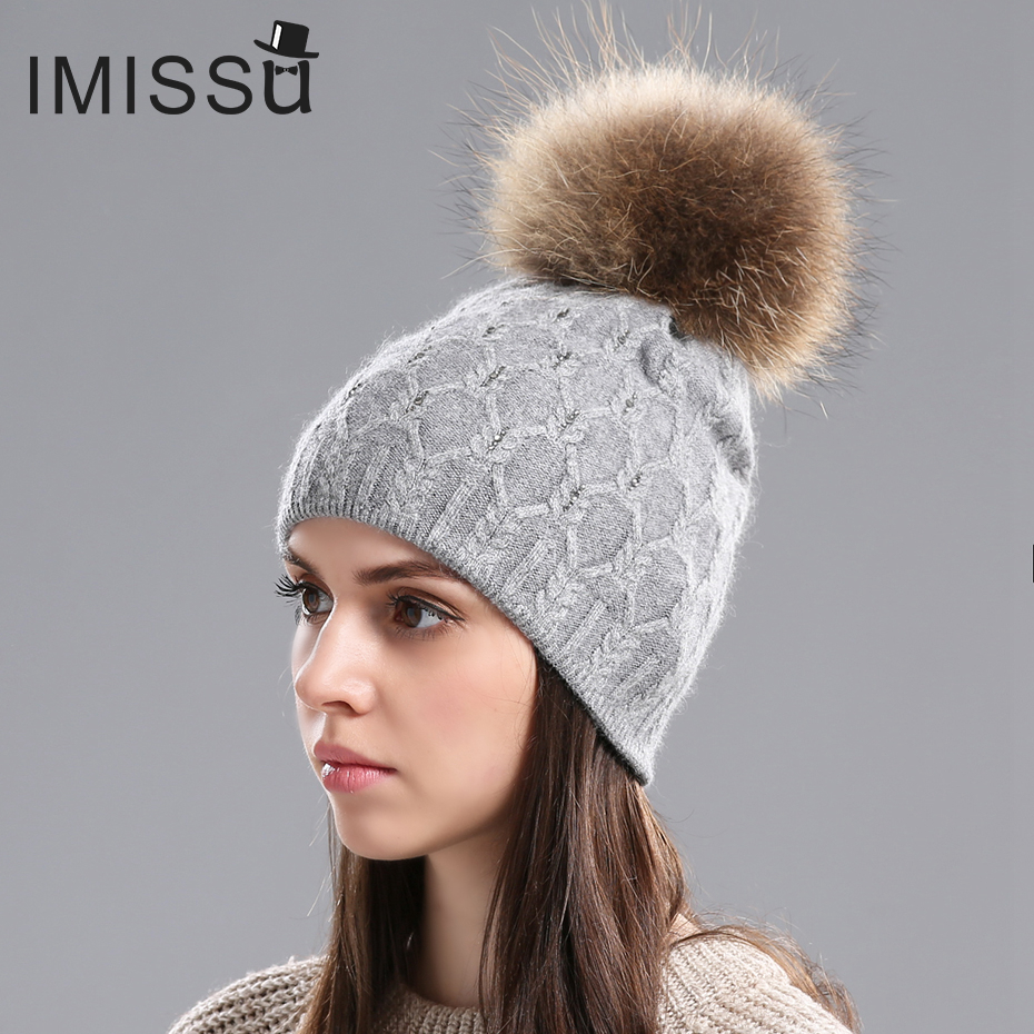IMISSU Winter Pompom Hats for Women Knitted Wool Skullies Casual Hat with Natural Raccoon Fox Fur Pompom Ski Gorros Cap autumn winter beanie fur hat knitted wool cap with raccoon fur pompom skullies caps ladies knit winter hats for women beanies