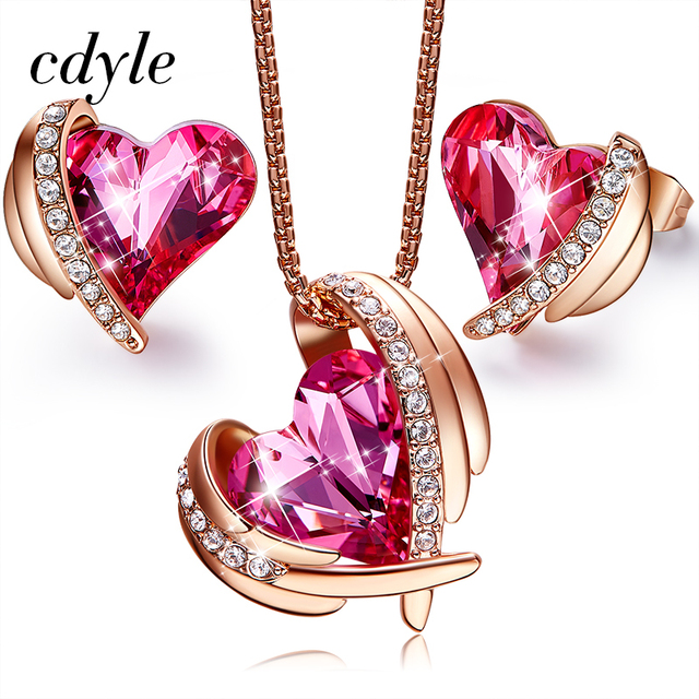 Cdyle Pink Angel Rose Gold Heart Jewelry Set Crystals from Swarovski Women Necklace Set Red Gifts For Girlfriend/Mother