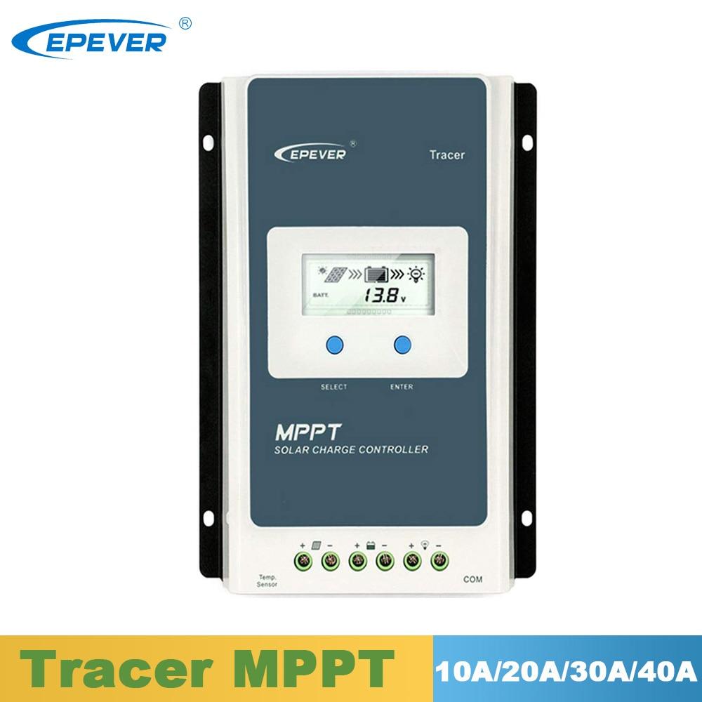Epever solar mppt carregador controlador lcd 10a 20a 30a 40a regulador solar 12 v 24 v para baterias de lítio de inundação selo gel chumbo ácido