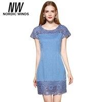 Nordic Winds Jeans Dress Women Summer Cute Hollow Out Mini Sundress Short Sleeve Blue Straight O