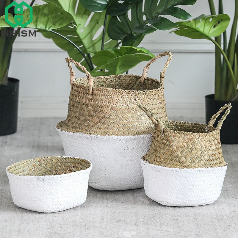 WHISM Seagrass Wickerwork Baskets Straw Folding Flower Pot Hanging Garden Planter Woven Laundry Hamper Handmade Storage Basket