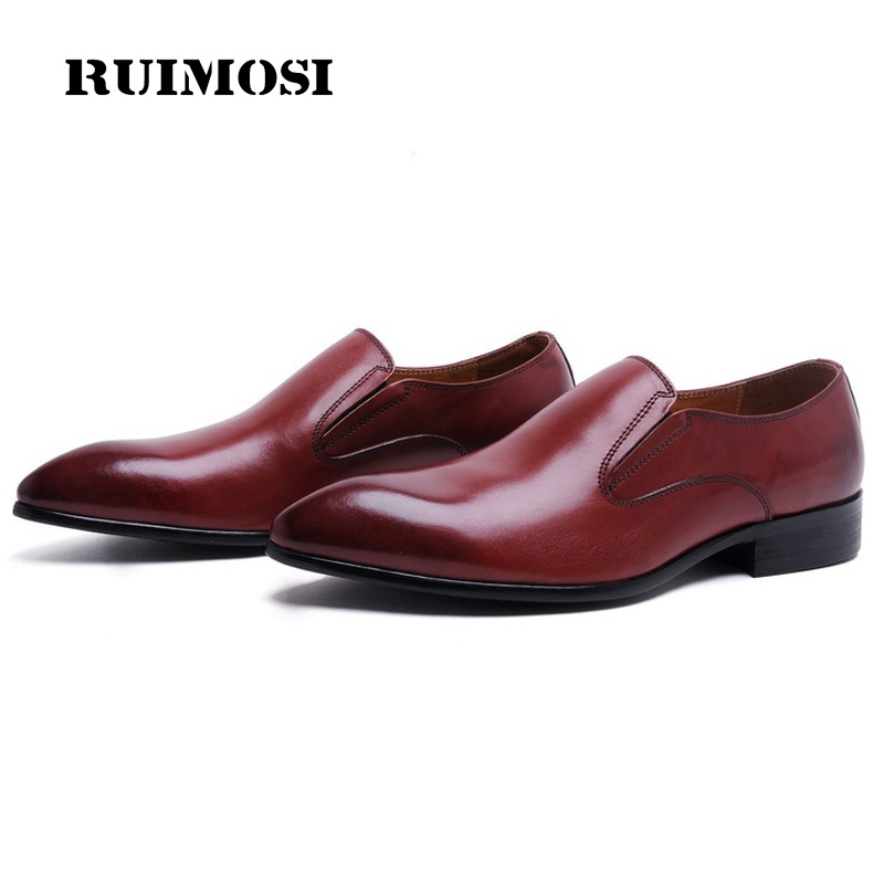 RUIMOSI Pointed Toe Handmade Heels Man Casual Shoes Genuine Leather Male Loafers Luxury Brand Men's Comfortable Flats OD83