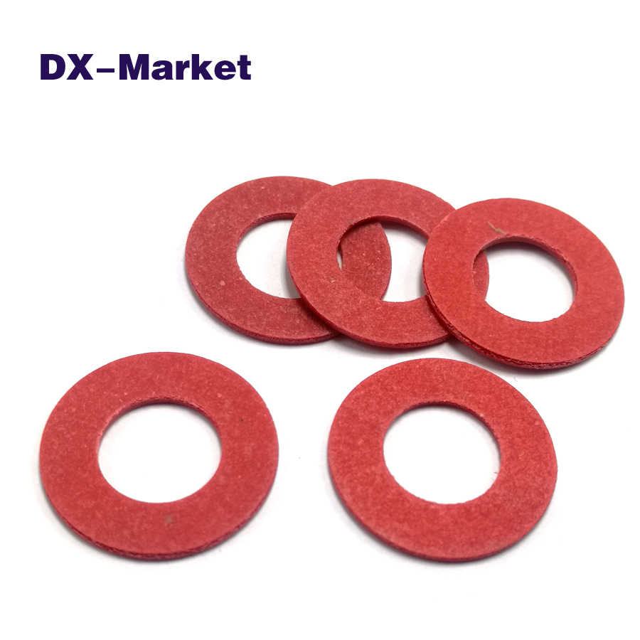 50 Pieces 8 mm x 16 mm x 1 mm Red Vulcanized Fiber Washer Insulation Board for Base Plate Insulating Washer