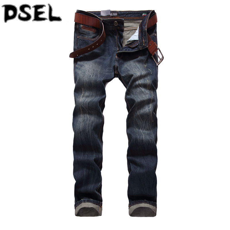 DSEL Brand Mens Jeans High Quality Straight Fit Retro Vintage Design Slim Fit Denim Ripped Jeans Men Casual Pants Man Trousers patch jeans ripped trousers male slim straight denim blue jeans men high quality famous brand men s jeans dsel plus size 5704