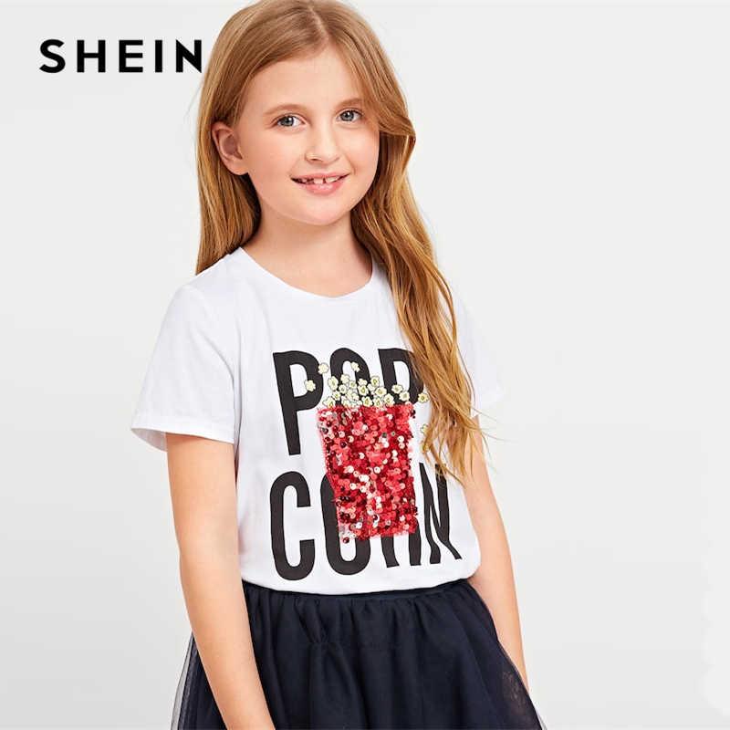 a4fe796260 SHEIN Kiddie White Letter Print Sequin Casual T Shirt For Girls Tops 2019  Summer Korean Short