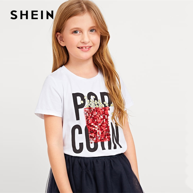 SHEIN Kiddie White Letter Print Sequin Casual T Shirt For Girls Tops 2019 Summer Korean Short Sleeve Tee Shirts Girls Clothes black basic round neck super letter print tee