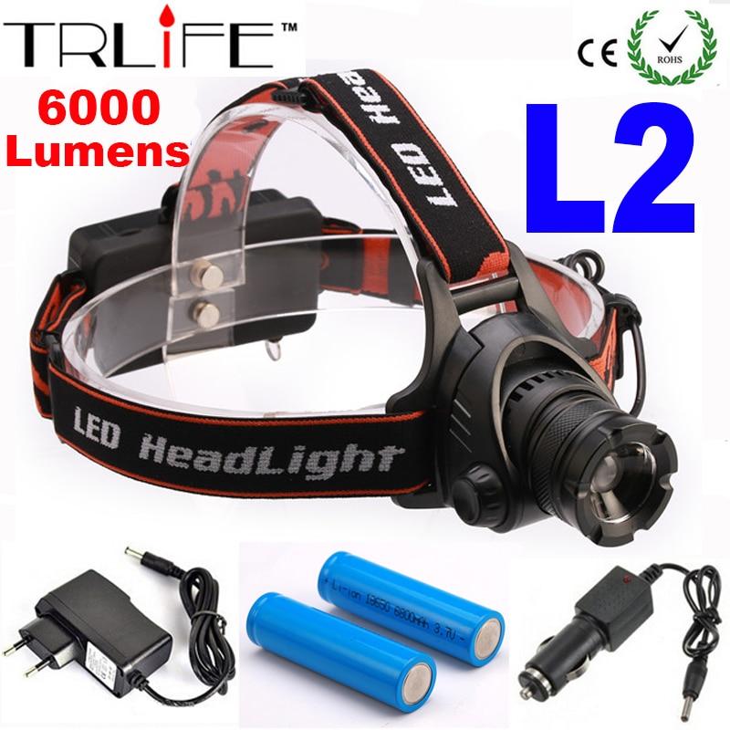waterproof zoomable headlight cree l2 led headlamp powered. Black Bedroom Furniture Sets. Home Design Ideas