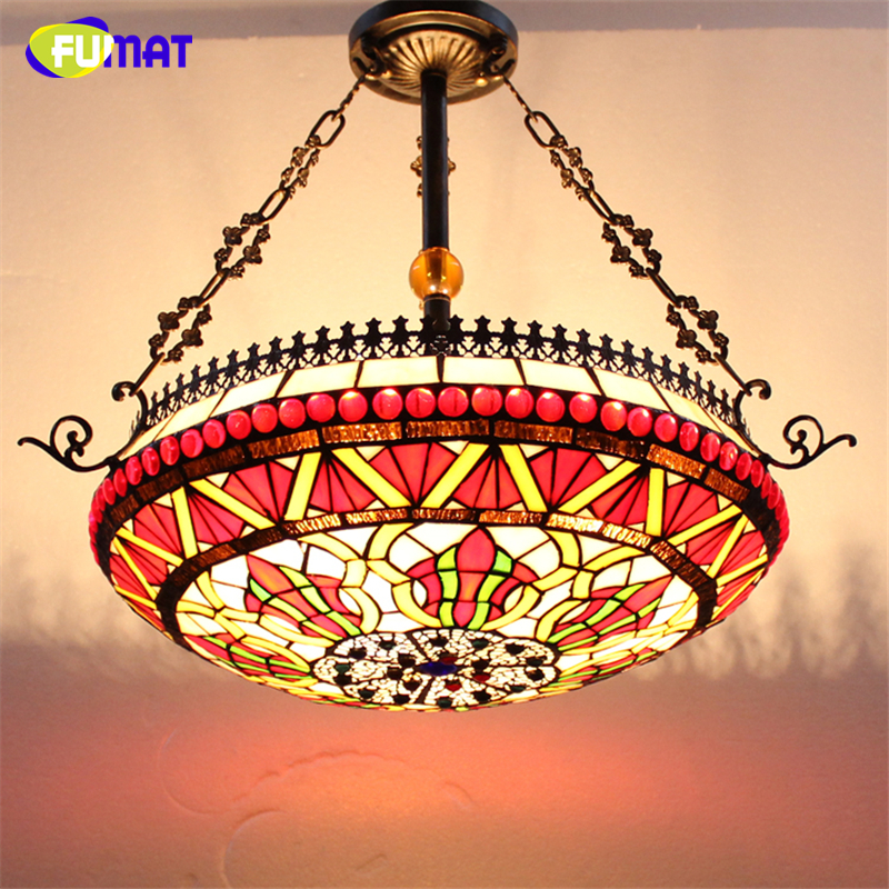 FUMAT Stained Glass Pendant Lamps European Style Glass Lamp For Living Room Dining Room Baroque Glass Art Pendant Lights LED chinese style iron lantern pendant lamps living room lamp tea room art dining lamp lanterns pendant lights za6284 zl36 ym