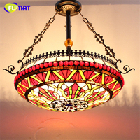 FUMAT Stained Glass Pendant Lamps European Style Glass Lamp For Living Room Dining Room Baroque Glass Art Pendant Lights LED
