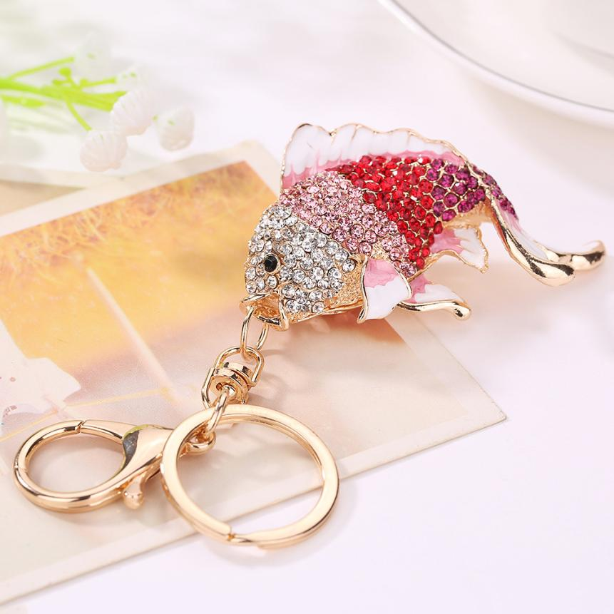 Starry Styling Goldfish Rhinestone Keychain Bag Handbag Key Ring Car Fish Key Pendant Delicate