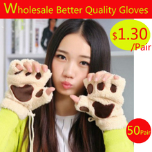 wholesale 50pair gloves fluffy bearcat plush pawclaw glove novelty halloween soft toweling - Halloween Novelties Wholesale